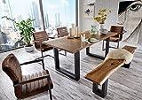 SAM® 6 TLG. Essgruppe Quentin, je 1x Baumkantentisch 200x100cm & -Bank 200x40 cm, Akazie-Holz, 4X Schwingstuhl Parzivo in Wildleder-Optik