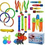 ARANEE 28 Stücke Tauchspielzeug Tauchen Spielzeug Tauchring,Schwimmbad Spielzeug Unterwasser Tauch Pool Spielzeug zum Tauchen Lernen für Kinder Jungs Mädchen mit Trag