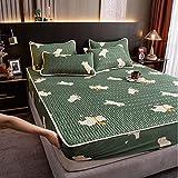 YFGY Spannbettlaken FüR Matratzen Doublete 150x200cm 3PCS, Sommerisolierung Eisseide Spannbetttuch und Kissenbezug-Set, waschbarer Matratzenschoner für Schlafzimmer Apartment Bär
