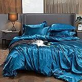 Bedding-LZ bettwäsche grau 135 x 200,Gesticktes Anti-Seidenrosa Sommer süßes seidiges nacktes schlafendes vierteiliges Set aus schlafender Seide-EIN_1,8m Bett (4 Stück)