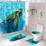Sea Turtle Badezimmer Sets mit Duschvorhang und Vorleger und Zubehör, Ocean Nautical Duschvorhang mit 12 Haken, Durable Wasserdicht Stoff Duschvorhang