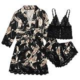 Damen Pyjama Set Nachtwäsche Unterwäsche Babydoll Kleid Anzug Satin Schlafanzug Kimono Nachthemd Negligee Sling Lingerie Morgenmantel Robe Frauen Spitze Kurzarm Hausanzug