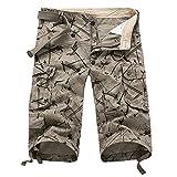 Herren Kurz Cargo Hose mit Tasche Slim Fit Basic Casual Stretch Hose Sporthose Vintage Cargo Shorts Kurze Hose Baumwolle Bermuda Shorts Regular Fit mit Reißverschlusstaschen