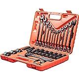 WMC TOOLS Steckschlüsselsatz Werkzeug Set 37 teilig Werkzeugkoffer mit Ratsche Nuss Schraubenschlüssel Tools Koffer Werkzeugkasten Nusskasten