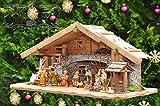 Große Weihnachtskrippe, mit Brunnen + Dekor, ca. 60 cm Massivholz historisch braun komplett mit Brunnenset - mit 12 x PREMIUM-Krippenfiguren + goldener Eng
