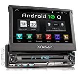 XOMAX XM-DA775 Autoradio mit Android 10, QuadCore, 2GB RAM, 32GB ROM, GPS Navigation, DVD, CD I Support: WiFi WLAN, 3G 4G, DAB+, OBD2 I Bluetooth, 7 Zoll / 18 cm Touchscreen, USB, SD, AUX, 1 DIN