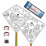 Mint's Colorful Life Drachen Kinder DIY basteln Kite Making Kits, 2 Pack Einleiner Drache Bastelset