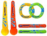 Schildkröt Neopren Diving Set, 6-teiliges Tauchset, je 2 Ringe, Stäbe, Bälle, Sandfüllung, weich, stehen am Grund