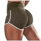 YYQX Damen Geraffte Booty Shorts Kurz Leggings Hohe Taille mit Bauchkontrolle Short