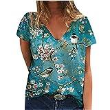 Kurzärmliges T-Shirt mit V-Ausschnitt und V-Ausschnitt und lässigem, lockerem Oberteil, Fashion-Damen-Kurzarm-T-Shirt mit V-Ausschnitt und Blumenmuster