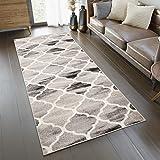 TAPISO Fiesta Teppich Läufer Meterware Kurzflor Flur Küche Korridor Brücke Beige Schwarz Modern Geometrisch Marokkanisch Meliert Design 120 x 500