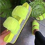 YYFF Unisex-Erwachsene Slide Flip Flops,Große Sandalen, Plüschwasserbohrer dick-gelb_37,Sommer Slippers Leicht Soft