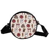 Runde Crossbody Tasche Kleine Handtasche Damen Mode Schultertaschen Messenger Bag Canvas Tasche Hüfttasche Zubehör für Frauen - Traditionelle japanische Glückskatze Tempelschirm Elemente