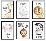 WIETRE® 6er Set Bilder Tiere Kinderzimmer Babyzimmer Deko   Bild Junge Mädchen Poster DIN A4   Waldtiere Safari Afrika Tiere Tierposter Dekoration (mit schwarzen Rahmen)