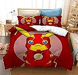 Nat999Lily Cartoon 3D Gedruckte Bettwäsche Anzug, Pokemon Pikachu Bettbezug Kinderbett Schlafzimmer Bettbezug Bettwäsche 220X240Cm Style 1