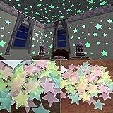 TWIFER 100 Stück Kinder Schlafzimmer Fluoreszierende Leuchten in Den Dunklen Sternen Wand Aufkleb