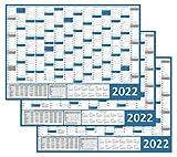 3 Stück Wandkalender / Wandplaner 2022 blau (gerollt) Din A0 Format (841 x 1189 mm) 14 Monate, komplette Jahresvorschau 2023