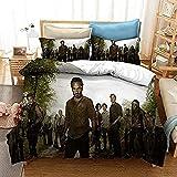 The Walking Dead Bettbezug-Set,Luxuriöse Mikrofaser,weich leicht,pflegeleicht,geeignet für Schlafzimmer / Gästezimmer (Rick1, 135X200cm+50x75cmx2)