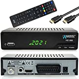 Anadol HD Sat Receiver 888 mit Aufnahmefunktion für Satelliten Fernsehen - PVR, Timeshift, HDMI, SCART Anschluss, USB, Coaxial - Media Player Funktion - Astra Hotbird vorinstalliert + HDMI Kabel