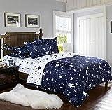 Boqingzhu Bettwäsche Sterne 135x200cm Blau Weiß Kinder Jungen Mädchen Microfaser Wende Kinderbettwäsche Set mit Reißverschluss und Kissenbezug 80x80cm