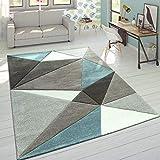 Paco Home Designer Teppich Moderner Konturenschnitt Trendige Dreiecke Pastell Grau Türkis, Grösse:120x170