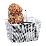 Relaxdays Fahrradkorb für Vorne, zum Einhängen, Kinder & Erwachsene, abnehmbar, Lenkerkorb Metall, 21x24,5x21 cm, weiß