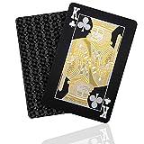 SENOPEKOO Deluxe Schwarze Spielkarten Playing Cards, Wasserdichtes Pokerkarten mit Glänzenden Rautenmustern und HD-Druck | Waschbar und Flexibel, Top Qualität Plastik | Familienparty