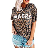 Buby Damen Leopardenmuster Kurzarm Blusen Polo Shirts Slogan T-Shirt Tunika Top Damen Sommer Rundhals Mode Baggy Comfort T-Shirt Loose Fit Spandex Blend Bluse Casual Tops