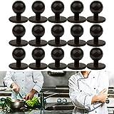 Rundknöpfe für Kochjacke, 15 Stück, schwarz, Kochknöpfe mit 12.5 mm Kopfdurchmesser, Vorrats-Set, Gesamtgröße 19 x 12.5 x 18 mm, Kugelknöpfe schwarz, Knöpfe Jacke Küche, Kochjackenknöpfe, Motivknöpfe