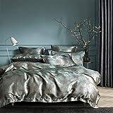 Romantisch Satin Bettwäsche 3 Teilig 200x200 cm Partner Bettbezug Barock Muster,Verdeckter Reißverschluss, mit 2 mal Kissenbezug 80x80 cm 1*200200+2*80*80 (HJFF-200-3T)