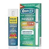 QuitGo Dual Support Quit Kit mit rauchfreiem Inhalator mit weicher Spitze, Kräuterentlastung und Erholungsspray, um das Rauchen aufzuhören (frische Minze, doppelte Unterstützung)