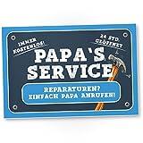 DankeDir! Papa's Service - Kunststoff Schild Türschild Papas Werkstatt Geschenkidee Geburtstagsgeschenk Vater Geschenk Papa Wanddeko Werkstatt Garage Deko das Haus