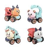 Bagger Spielzeug, Spielzeug ab 3 Jahre, Kipplaster Spielzeug, Betonmischer Spielzeug, 4 in 1 Sandkasten Spielzeug Engineering Fahrzeug Set, Zerlegen Baufahrzeuge Spielzeug Lernspielzeug für Kinder