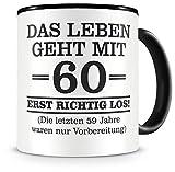 Samunshi® Tasse mit Spruch witzige Geschenke zum 60 Geburtstag Mann Frau Oma Opa Geburtstag Geschenkideen zum 60 Geburtstag (60 Jahre 300ml schwarz/schwarz)