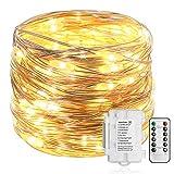 Lichterkette mit 100 LEDs, 10 m, silberfarbenes Kabel, mit Fernbedienung und Timer, Kunststoff, LED, Silberdraht, 100 LEDs Battery String Lights, 1 Pack