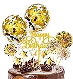 Xinmeng Gold Kuchen Topper Kuchendekoration Geburtstag Tortendeko Happy Birthday Cupcake Topper mit Sternen Konfetti-Luftballons und Papierfächer für Geburtstagsfeier Dek
