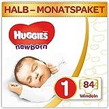 Huggies Newborn Baby Windeln Größe 1, 2 bis 5 kg, Für Neugeborene, Mit Nässeindikator, 84 Windeln, Monatsbox, Monatspack, Großpackung