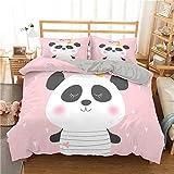 QDoodePoyer Bettwäscheset 135x200cm Süß Mode Tier Panda Anthrazit Bettwäsche Mikrofaser - 1 Bettbezug 135x200cm mit Reißverschluss + 2 x Kissenbezüge 80 x 80 Anthrazit