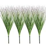 Famibay 4 Stück Kunstpflanze Grasbündel Grün Gras Pflanze Künstlich Graspflanze Ziergräser Kunstgras Zweige Gräsersträuße Dekogras ür Zuhause Garten Balkon Draußen Innen Grasarrangement (Grüne, 4)