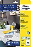 AVERY Zweckform 7636-10 Adressaufkleber (480 Etiketten, 45,7x21,2mm auf A4, bedruckbare Absenderetiketten, selbstklebend Adressetiketten mit ultragrip, ideal fürs HomeOffice) 10 Blatt, weiß