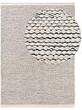 Benuta Wollteppich Rocco Beige/Schwarz 70x140 cm Kurzflor Flachgewebe für Wohnzimmer, Schlafzimmer, Esszimmer oder Kinderzimmer