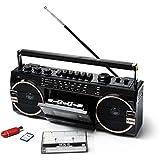 Ricatech PR 1980 Ghetto Blaster Boombox, Kassetten-/Kassettenrekorder, AM/FM/SW 3-Band-Radio, Zwei 8-Watt-X-Bass-Lautsprecher, Sprachaufzeichnung mit Aufnahmemikrofon, Kopfhö