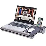 Rentliv übergroß Laptoptisch mit Kissen und Handgelenkauflage für Bett, Knietablett für Notebook bis 17 Zoll mit Tablet, Telefon und Stifthalter - Grau