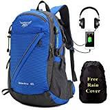 Meisohua 40L Wanderrucksack Herren Damen Leicht Trekkingrucksäcke mit Wasserdichter Regenhüllen,Outdoorrucksack mit Reflexstreifen,College Rucksack mit USB-Anschluss für 15.6 Zoll Laptop