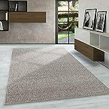 Carpetsale24 Kurzflor Teppich Flachgewebe Schlingenteppich Kettelteppich Meliert Beige, Maße:160 cm x 230 cm