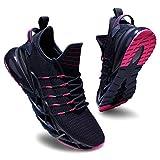 Deevike Sneaker Damen Laufschuhe Wanderschuhe Sportschuhe Turnschuhe rutschfest Stoßfest Fitness Schuhe Blau Rosa-41