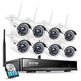 ZOSI 8CH HD 1080P Außen WiFi Überwachungskamera Set mit 1TB Festplatte H.265+ Kabellos NVR mit 81080P Outdoor WLAN Kamera System für Hausüberwachung, 20M-IR Nachtsicht