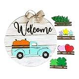 Reooly Automuster Türhänger Saisonale Willkommensschild, mit austauschbaren Feiertagsstücken für Haustür Veranda hängen handgefertigt,Welcome Door Sign,Gifts