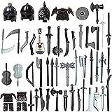 WWEI 51St. Ritter Helm, Ritter Rüstung und Custom Waffen Set für Mini Ritter Figuren SWAT Polizei, Kompatibel mit Lego