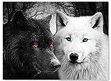 wandmotiv24 Leinwand-Bild Wölfe Schwarz & Weiß, Größe 80x60cm, Querformat, Wandbilder, Dekoration Wohnzimmer modern, Tiere, Raubtier, Nacht, Mond, Wild, Wald, Dunkel, Tier, Natur, Wolf, Deko M0103
